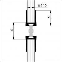 Уплотнитель для маятниковых стеклянных дверей Ellen 10х225 мм
