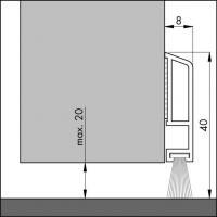 Пороговый щёточный уплотнитель самоклеящийся PDS B ZK 100мм