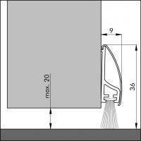 Пороговый щёточный уплотнитель Inox de lux 100мм